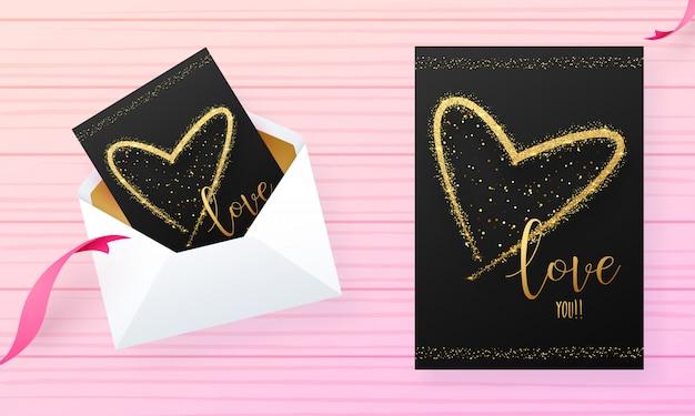 Hou van je wenskaart ontwerp op roze streep achtergrond voor valentijnsdag
