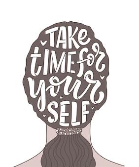 Hou van jezelf belettering slogan. moderne kalligrafietekst over zelfzorg.