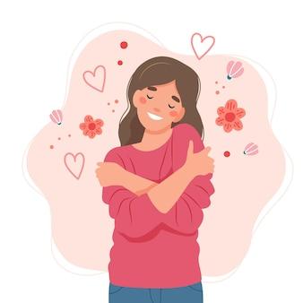 Hou van jezelf concept, vrouw knuffelen zichzelf, illustratie in vlakke stijl