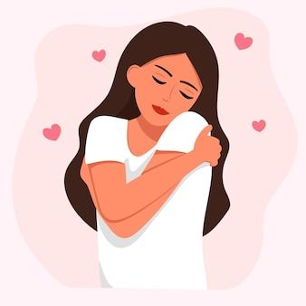 Hou van jezelf. gelukkige vrouw knuffelt zichzelf met hartjes op een witte achtergrond. vectorillustratie voor liefde, positief lichaam.