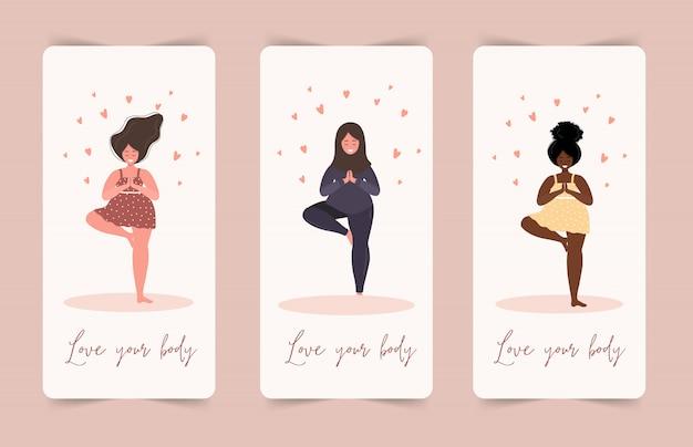 Hou van jezelf. ik hou van je lichaam concept. girl healthcare huidverzorging. neem de tijd voor jezelf. rustige vrouwen in jurk met hartjes op een witte achtergrond. pastel schattige zachte kleuren. illustratie. vlakke stijl.