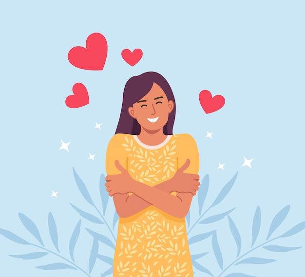 Hou van jezelf. verzorgde mooie vrouw die zichzelf knuffelt. houd van je lichaamsconcept. meisjes gezondheidszorg huidverzorging. neem tijd voor jezelf