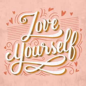 Hou van jezelf zelfliefde belettering