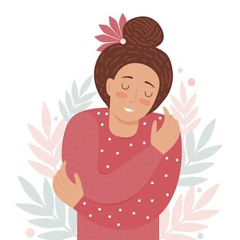 Hou van jezelf, zelfzorg, acceptatie, gezonde levensstijl. vrouw met gesloten ogen glimlacht en omhelst zichzelf. lichaamspositieve en geestelijke gezondheidsillustratie