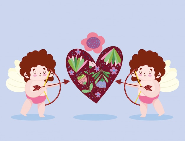 Hou van kleine cupido's schieten pijl hart bloemen romantische cartoon