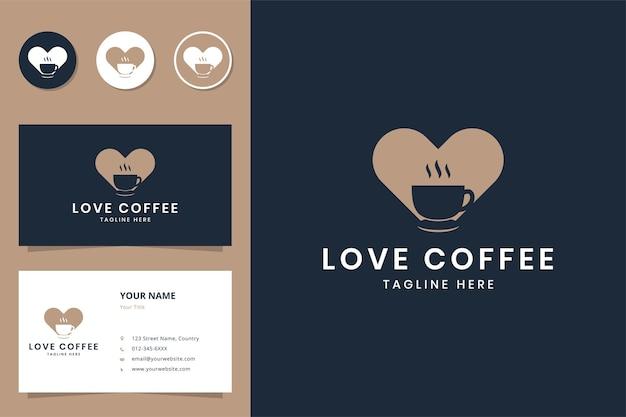 Hou van koffie negatief ruimtelogo-ontwerp