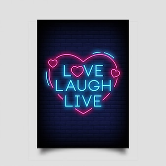 Hou van lachen live voor poster in neon stijl.