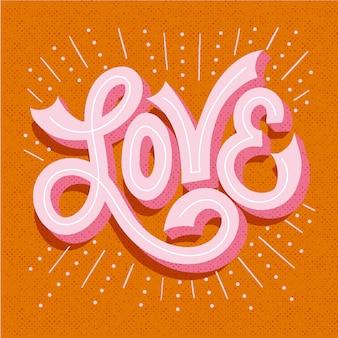 Hou van letters met lijnen en stippen schaduwen