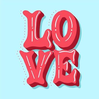 Hou van letters met schattige gestippelde schaduw