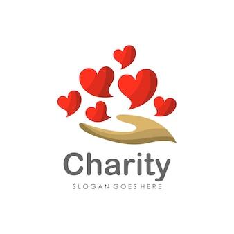 Hou van liefdadigheid logo ontwerpsjabloon