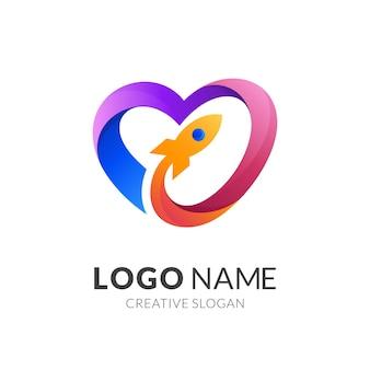 Hou van logo en raket ontwerpcombinatie, 3d-kleurrijke logo sjabloon