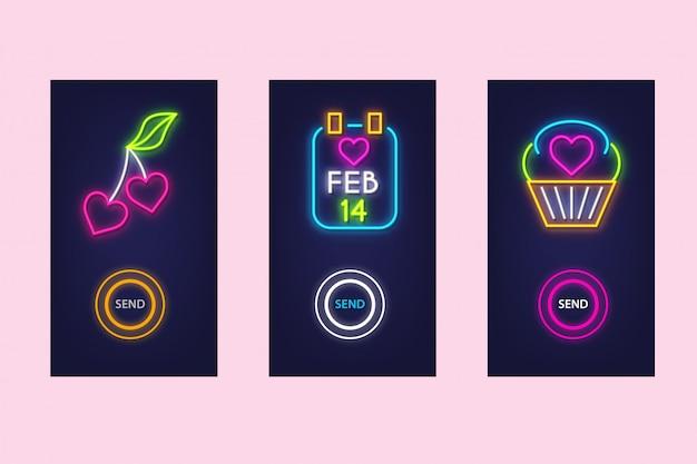 Hou van mobiele app set met neon glow. virtuele liefde. ui-ontwerp.