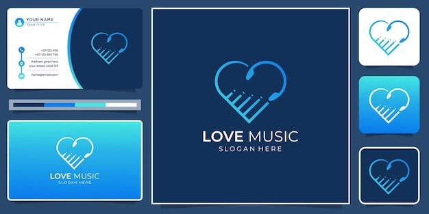 Hou van muziek logo ontwerp met visitekaartje template.creative liefde en muziek minimalistisch modern design.