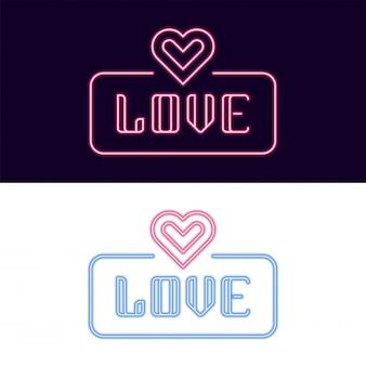 Hou van neon lettertype met hart pictogram