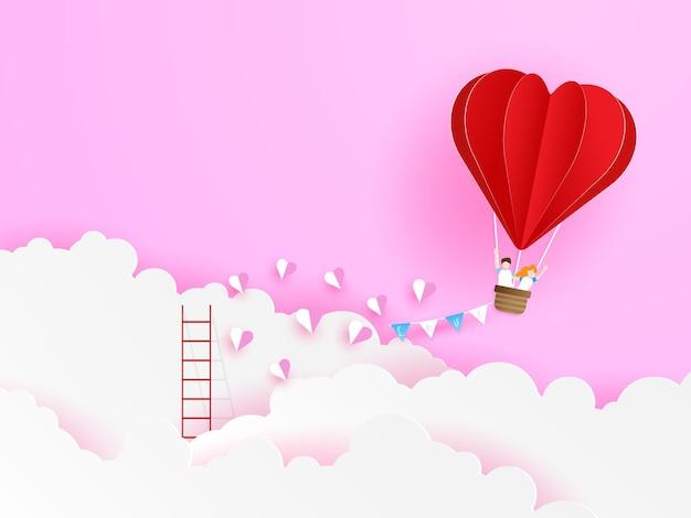 Hou van paar vliegen met de rode ballon van de hartvorm op wolk, valentijnsdag wenskaart illustratie papier kunststijl
