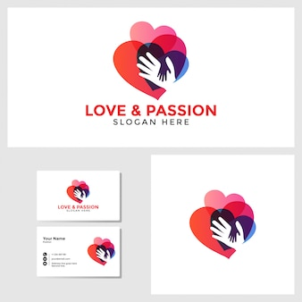 Hou van passie logo sjabloon met visitekaartje ontwerp mockup