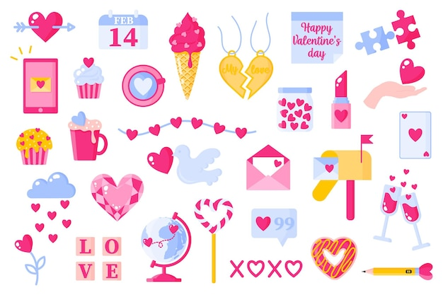 Hou van pictogrammen instellen voor valentijnsdag of bruiloft. ijs, hart, bericht, wereldbol, diamant, glas, brievenbus, donut, enz. plat ontwerp geïsoleerd op een witte achtergrond.