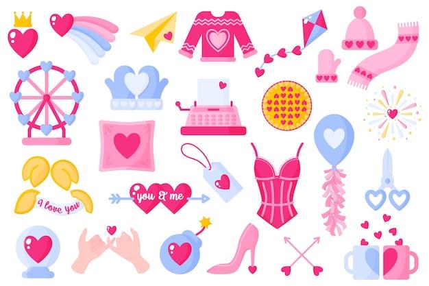 Hou van pictogrammen instellen voor valentijnsdag