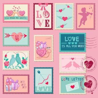 Hou van postzegels voor bruiloft, valentijnsdag