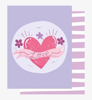 Hou van romantisch hart lint bloemen cartoon kaart grunge ontwerp