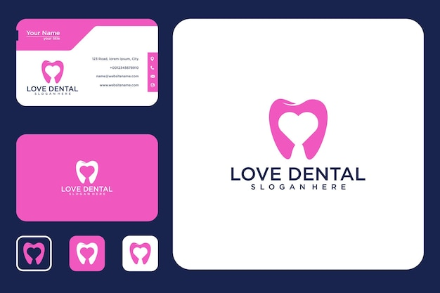Hou van tandheelkundig logo-ontwerp en visitekaartje