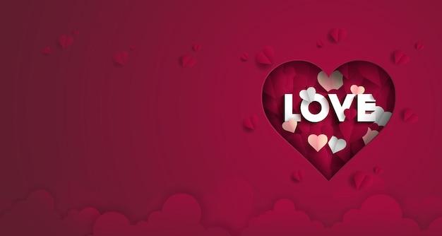 Hou van valentijnsdag met hart op rode achtergrond,