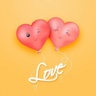 Hou van wenskaart ontwerp met illustratie van schattige hart ballonnen