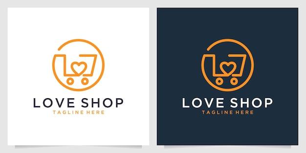 Hou van winkelen lijntekeningen logo ontwerp