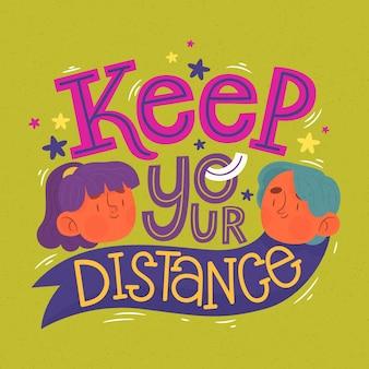 Houd afstand - belettering