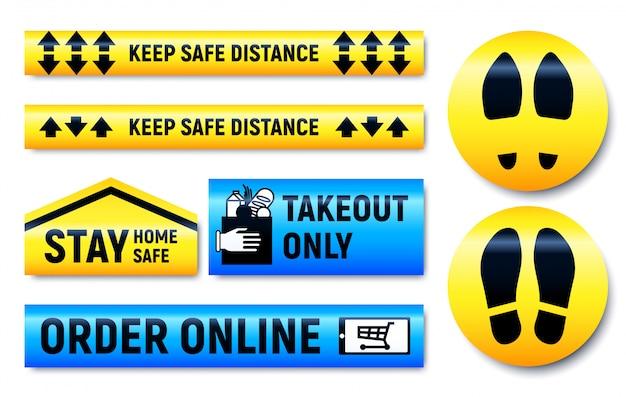 Houd afstand en blijf thuis stickers en markeringen ingesteld