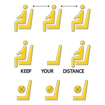 Houd afstand ga hier niet zitten verboden pictogram voor stoel sociale afstand in een openbare ruimte