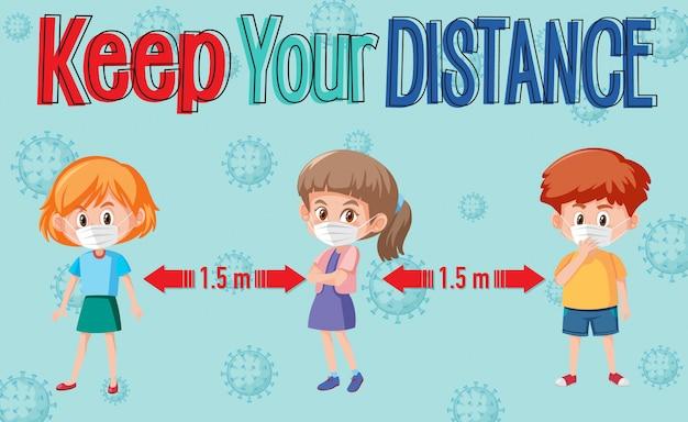 Houd afstand of sociaal afstandsbord met stripfiguren voor kinderen