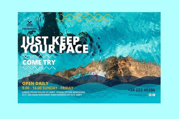 Houd de banner van het tempo van zwemlessen