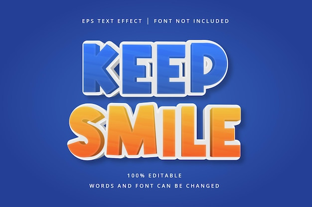 Houd glimlach bewerkbaar teksteffect