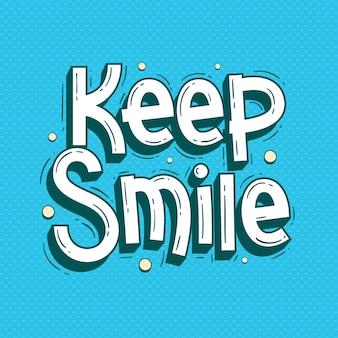 Houd glimlach citaten belettering doodle