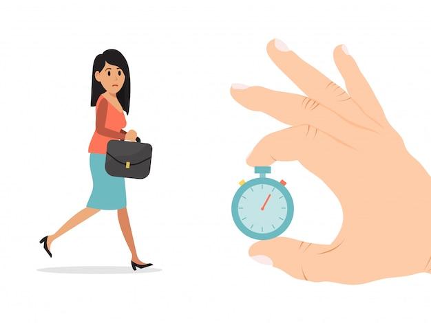 Houd hand gouden zakhorloge, de vergadering van het de vertragingswerk van het onderneemsterkarakter op wit, illustratie wordt geïsoleerd die. vrouwelijke zakelijke afspraak.