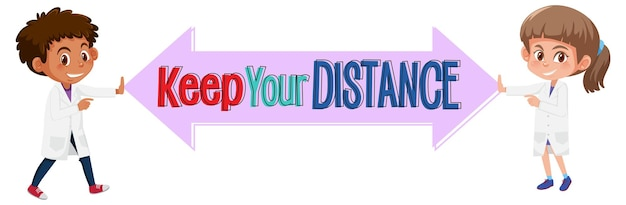 Houd je afstandsbanner met stripfiguur