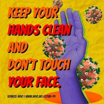 Houd je handen schoon en raak je gezicht niet aan tijdens covid-19 achtergrondbron who vector