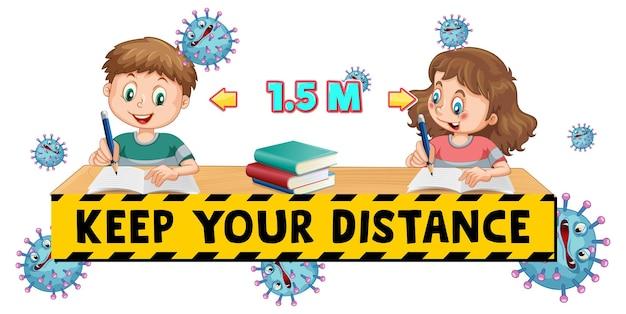 Houd je lettertype op afstand met twee kinderen die sociale afstand houden geïsoleerd op een witte achtergrond