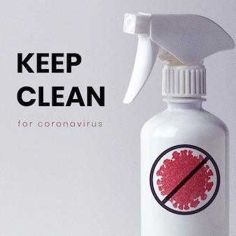 Houd schoon voor sociale sjabloon voor coronavirus
