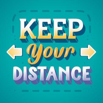 Houd uw afstand belettering met pijlen
