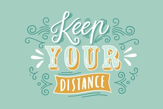 Houd uw afstand belettering