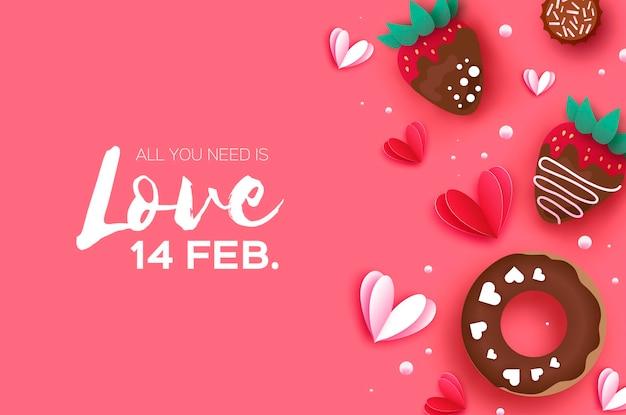 Houd van aardbei en chocolade, donut.