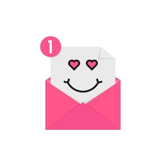 Houd van emoji in roze briefmelding. concept van karakter, gelukkige valentijnsdag, romantiek, vrolijk, tevreden, tevreden, billet-doux. vlakke stijl trend modern logo grafisch ontwerp op witte achtergrond