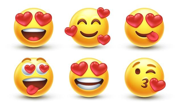 Houd van emoji-pictogrammen met verschillende emoties