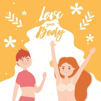 Houd van je lichaam met diversiteitmeisjes in ondergoed