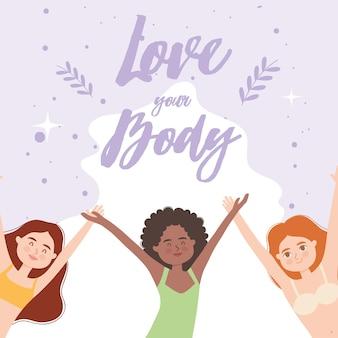 Houd van je lichaam met diversiteitsvrouwen in ondergoed
