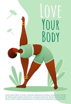Houd van je lichaamssjabloon. actieve levensstijl.