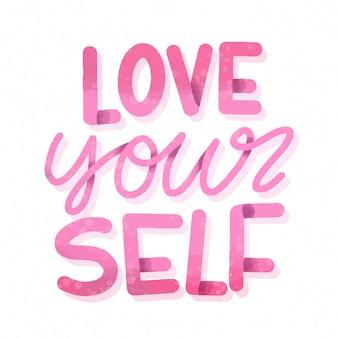 Houd van je persoonlijkheid zelfliefde belettering