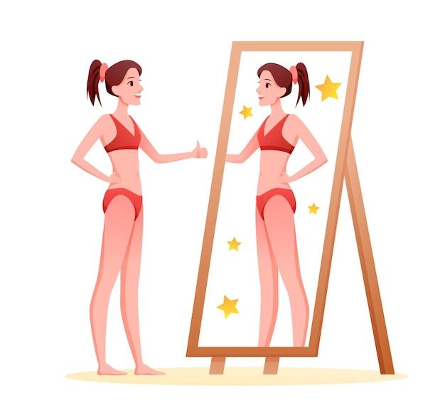 Houd van jezelf, acceptatie. cartoon jong slank gelukkig meisje, mooie dame liefdevolle haar lichaam